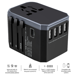 13688-4 4USB Universal travel adapter with Type C